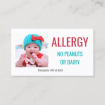 Kids Custom Photo Food Allergy Medical Alert Card