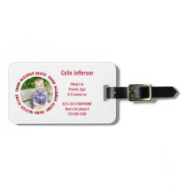 Kids Custom Photo Food Allergy Medical Alert Luggage Tag