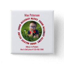 Kids Custom Photo Food Allergy Medical Alert Pinback Button