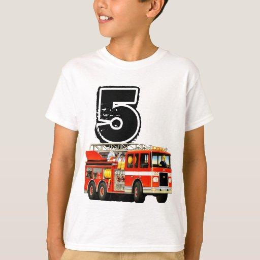 Kids custom red fire truck 5th birthday t shirt zazzle for Custom fire t shirts