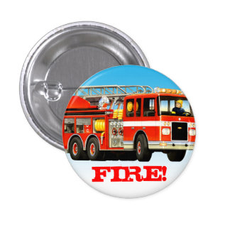 Kid's Custom Red Fire Truck Pinback Button