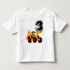 Kid's Custom Yellow Digger 3rd Birthday Shirt