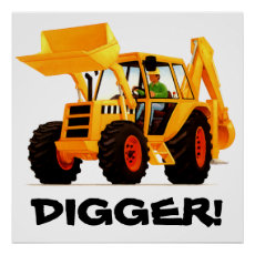Kid's Custom Yellow Digger Poster