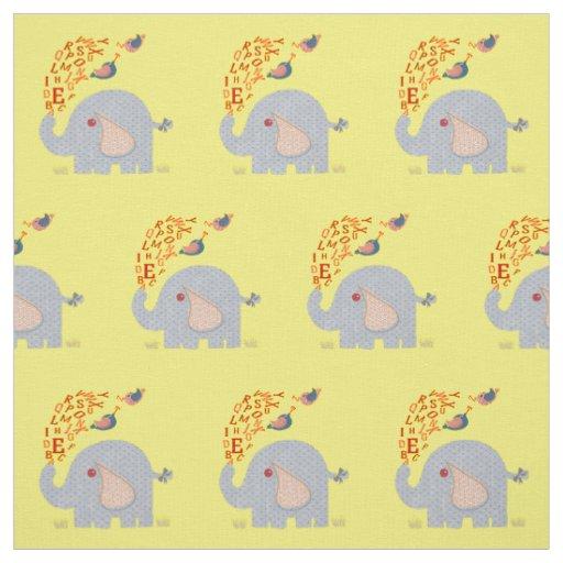 Kids cute alphabet elephant and chick birds fabric zazzle for Childrens elephant fabric