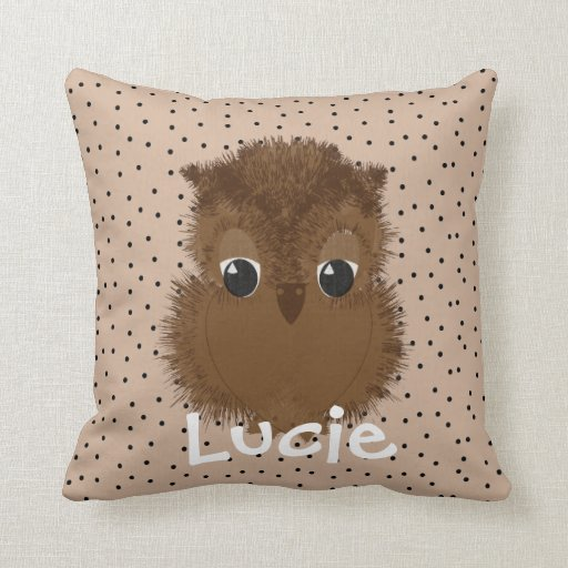 Cute Pillow Illustration : Kids Cute Baby Owl Illustration Throw Pillow Zazzle