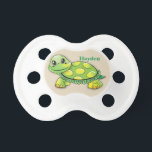 """Kid&#39;s Cute Baby Turtle Smiling Pacifier<br><div class=""""desc"""">Personalized child&#39;s pacifier with light khaki customizable background and a Cute Baby Turtle Smiling. Customize the the background color, name, or add your own text, this pacifier makes a great keepsake for your special child! All our products can be custom designed to meet your needs at no extra charge. Simply...</div>"""