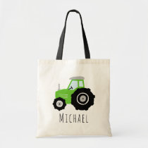 Kids Cute Boys Green Farm Tractor and Name  Tote Bag