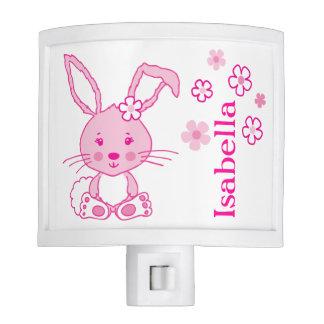 Kids cute bunny rabbit pink name night light