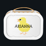 """Kids Cute Fluffy Yellow Chick Girls Personalized Lunch Box<br><div class=""""desc"""">Kids Cute Fluffy Yellow Chick Girls Personalized Lunch Box. Fluffy yellow chick design on both sides of this adorable lunch box. Personalize with name in black font or customize to change font color or style. Cute little birdy,  sweet little chick school supplies.</div>"""
