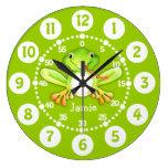 Kids cute frog green wall clock