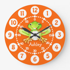 Kids Cute Frog Orange Green Wall Clock at Zazzle