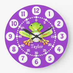 Kids Cute Frog Purple Green Wall Clock at Zazzle