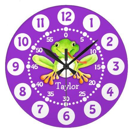 Kids Cute Frog Purple Green Wall Clock