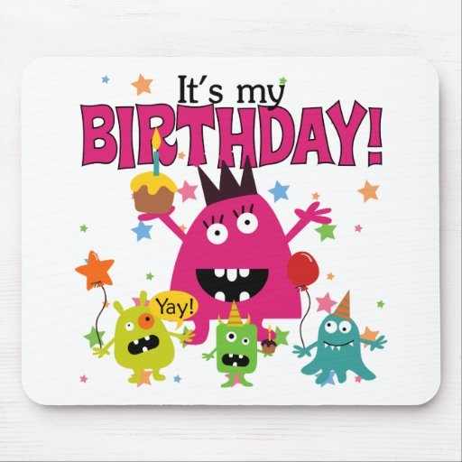 Kids Cute Monster Birthday Mouse Pad