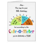 Kids Cute-O-Meter Funny 6th Birthday Greeting Card