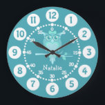"""Kids cute owl aqua blue green wall clock<br><div class=""""desc"""">Kids graphic wall clock. This colorful cute fun kids clock includes minutes and hours to help make child&#39;s play of telling the time. Customise with the short name of your choice, currently reads Natalie. Designed exclusively by Sarah Trett. A great addition to a owl or bird loving kid&#39;s bedroom who...</div>"""