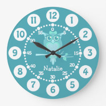 Kids cute owl aqua blue green wall clock