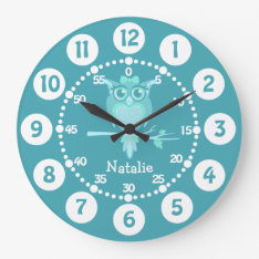 Kids Cute Owl Aqua Blue Green Wall Clock at Zazzle