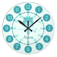 Kids Cute Owl Aqua Blue Green Wall Clock at Zazzle
