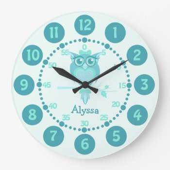 Kids Cute Owl Aqua Blue Green Wall Clock by Mylittleeden at Zazzle