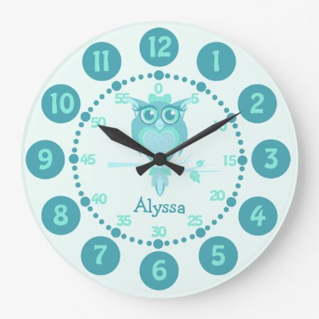 Kids Cute Owl Aqua Blue Green Wall Clock