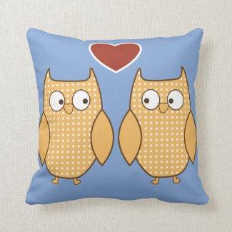 Kid's cute owl heart pillow