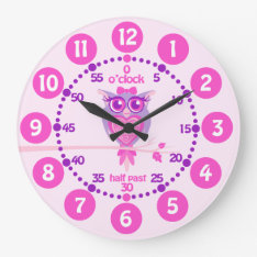 Kids Cute Owl Pink Purple Wall Clock at Zazzle