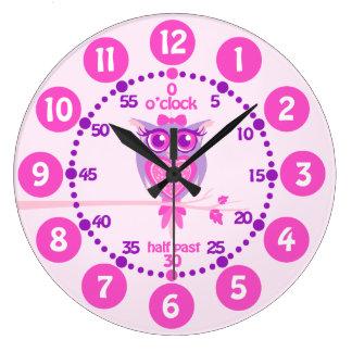 Kids cute owl pink purple wall clock