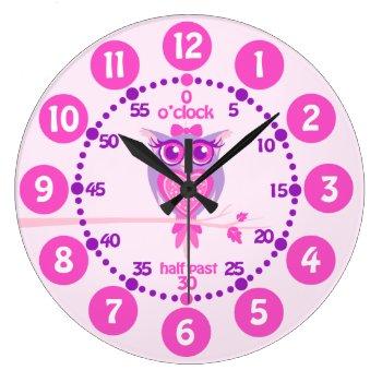 Kids Cute Owl Pink Purple Wall Clock by Mylittleeden at Zazzle