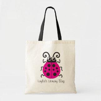 Kids cute pink ladybug / ladybird library bag