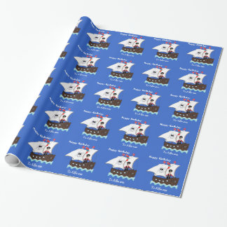 Kids Cute Pirate Ship Themed Picture Wrapping Paper