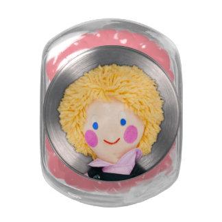 Kids Cute Rag Doll Picture Glass Jars