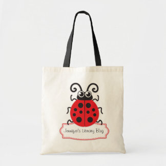 Kids cute red ladybug / ladybird library bag