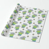 Kids Cute Soccer Elephants Pattern Wrapping Paper