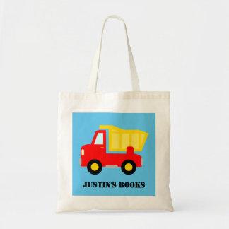 Kids cute toy dump truck library book tote bag