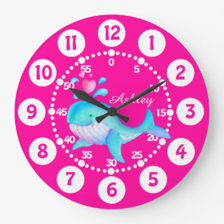 Kids cute whale spurting art pink aqua blue clock