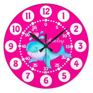 Kids cute whale spurting art pink aqua blue clock