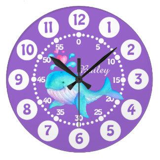 Kids cute whale spurting art purple aqua clock