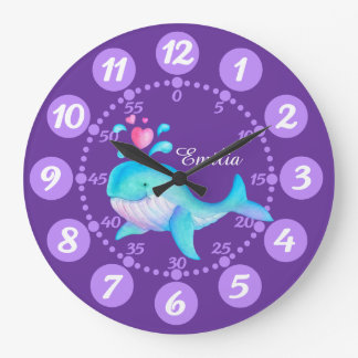 Kids cute whale spurting art purple aqua clock