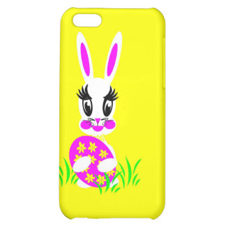 Kids Cute White Easter Bunny with Colored Egg iPhone 5C Covers