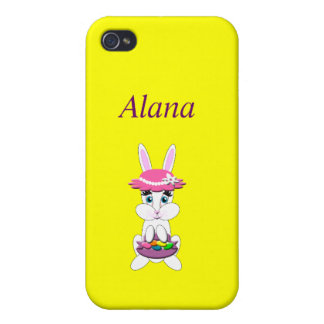 Kids Cute White Easter Bunny with Colored Egg iPhone 4/4S Case