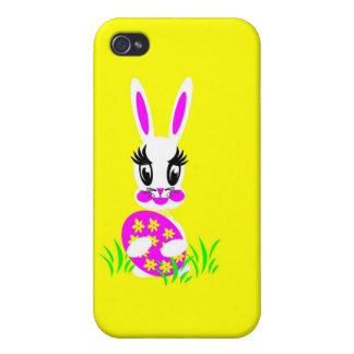 Kids Cute White Easter Bunny with Colored Egg Case For iPhone 4