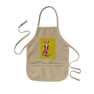 Kids  Cute White Easter Bunny with Colored Egg Kids' Apron