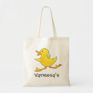 Kids cute yellow duck library or beach bag