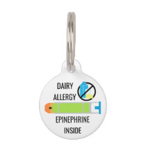 Kids Dairy Allergy Epinephrine Inside Emergency Pet Name Tag