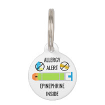 Kids Dairy Peanut Allergy Alert Epinephrine Inside Pet Tag