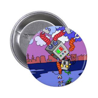"""Kids Dancing Robot 5.7cm (2.25"""") Round Badge Pinback Button"""