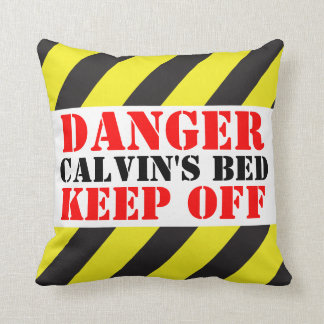 Kids danger sign named keep off pillow