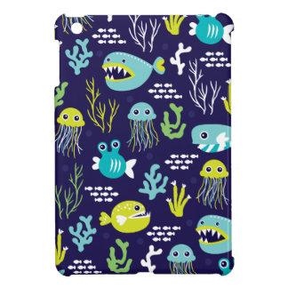 Kids deep sea fish marine illustration pattern cover for the iPad mini