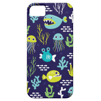 Kids deep sea fish marine illustration pattern iPhone SE/5/5s case